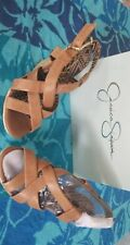 Jessica Simpson CATALINA Platform Wedge Sandals Espadrille Leather Tan Size 7.5