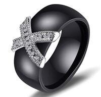 Ring Verlobungsring Keramik Schwarz CZ Kristall-X Modeschmuck 8 mm Breit (16)