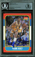 Lakers Byron Scott Authentic Signed 1986 Fleer #99 Auto Card BAS Slabbed
