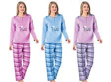 Warmer langer Damen Schlafanzug innen angeraut karierte Hose 100 Baumwolle