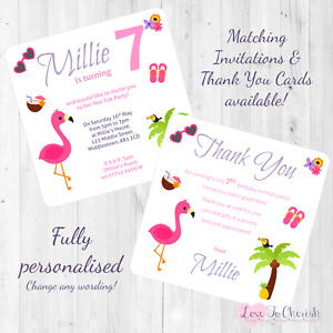 Hot Tub Party Personalised INVITATIONS - Girl's Tropical Birthday Party INVITES
