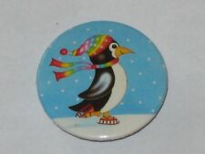 Penguin Ice Skating In The Snow Button Pin Pinback Badge 1982 E H Mason