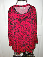 "Women's""CHICO'S""Made in USA Red&Black Floral Stretch Blouse/Top  Size 1 CUTE!"