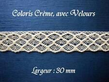 Dentelle ancienne, AU METRE, larg 30 mm, Crème, coton + panne velours,  n° 187