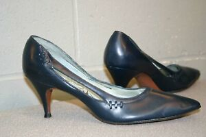 7 AAAA Vtg 1950s Mr. Easton Spike Heel Pin Up Shoe Navy Blue CutOut Sides 50s