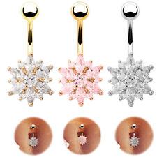 Belly Button Piercing Bars Barbells Navel Flower Crystal Body Bar Drop Dangle UK