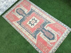 3'8''x6'9'' Vintage Turkish Rug,Oushak Entry Rug,Ushak Carpet,Large Wide Runner