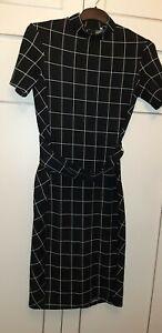 Flattering Zara Basic Black & White Belted Dress With Mandarin Collar Size XL...