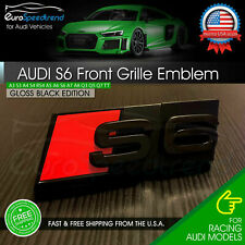 Audi S6 Front Grill Emblem Gloss Black for A6 S6 Hood Grille Badge Nameplate (Fits: Audi)