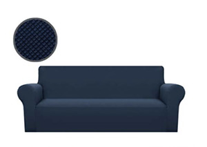 """Binztec 1-Piece Sofa Cover Knitted Jacquard Spandex Sofa up to 70"""" Navy Blue"""