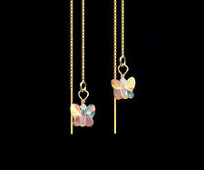 *CKstella* Crystal AB Butterfly 14K Gold Vermeil Ear Thread Threader Earrings