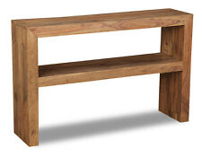 CUBE NATURAL SHEESHAM FURNITURE CONSOLE TABLE (C23N)