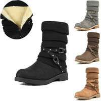 DREAM PAIRS Women's Faux Fur Lined Warm Winter Boots Side Zipper Mid Calf Boots