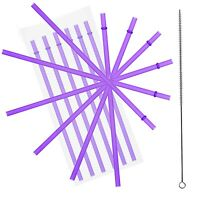 """10.5"""" Purple Acrylic Straw Set of 10, With Cleaning Brush"""
