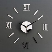 Hot 3D Acrylic Mirror Surface Roman Numerals Wall Clock Stickers Home DIY Decor