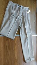 MENS PANTS-IZOD AMERICAN CHINO-TAN-100%COTTON-DOUBLE PLEAT-W33 L32-NEW W/TAGS