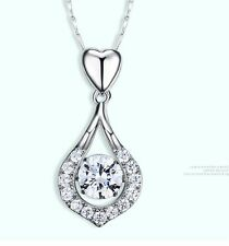 Sterling Silver Cubic Zirconia CZ Stone Water Drop Heart Pendant Necklace Box A8