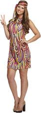Ladies Groovy Girl Fancy Dress Hippy Hippie Costume Womens 1970s 1960s