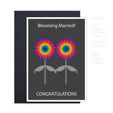 Gay Lesbian same sex wedding card, blooming married! LGBT wedding card flowers