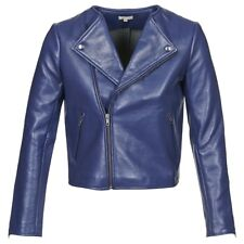 £650 Manoush Blue leather jacket UK 10 F 38