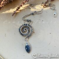 Labradorite Gemstone Wire Wrapped Pendant Necklace Handmade Jewelry