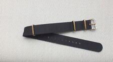 Zuludiver Nylon Thread Through Divers watch strap 18mm Black & Bronze Buckle