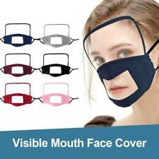 For The Deaf Adult Reusable Washable Face Bandanas with Clear Window