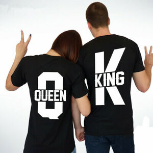 Queen Graphic Print Short Sleeved King And Casual Couple T Shirt Cotton Material