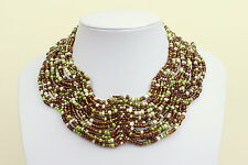 Multi Colour Collar Necklace Brown Green White Cleopatra Style Choker DB03