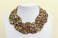 Collar de varios Cuello De Color Marrón Verde Blanco Cleopatra Estilo Gargantilla DB03