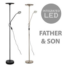 Modern Satin Nickel 25w Integrated LED Adjustable Father and Son Dimmable Floor