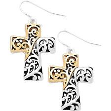 Two Tone Cross Fashionable Earrings - Vine Filigree - Fish Hook