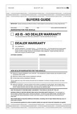 Used Car AS-IS FEDERAL BUYERS GUIDE no Warranty Forms  (100pk) Tape Top & Bottom