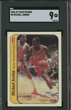 1986 Fleer Sticker Basketball #8 Michael Jordan Bulls RC Rookie SGC 9 MINT