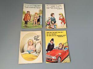 4 Vintage Bamforth Comic Postcards Black Triangle No 851/922/976/1024 Lot 13