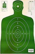 Paper Shooting Targets Green Silhouette Gun Pistol Rifle B-27 Qty:100 23x35