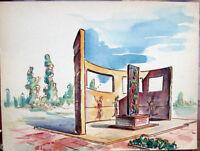 ✅Acquerello '900 su carta Watercolor Architettura futurista cubista razionale-30