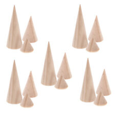 15pcs Natural Wood Plain Stand Cone Decorating Ring Display DIY Craft 3 Size