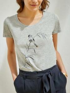 Cyrillus Women's Slub cotton T-shirt Grey Size Small VR182 04