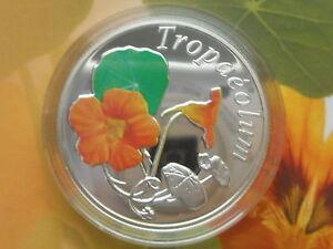Belarus  Weißrussland  10 rubel 2013 Flower  Nasturtium Silver Box Coa