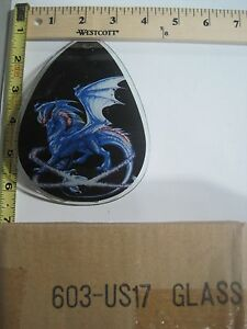 FREE US SHIP ok touch lamp replacement glass panel Flying Blue Dragon 603-US17