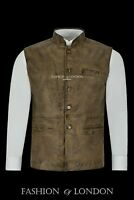 Men's Real Leather Waistcoat Mandarin Collar Dirty Brown Indian Ethnic Vest 3946