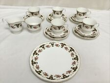 Vintage Bone China Floral Tea Cups Saucers Plates With Gold Gilt Edging x 5