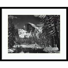 "Ansel Adams,"" Half Dome, Merced River, Winter"" Framed Art 30x27"