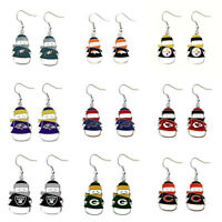 AMINCO NFL Dangle Snowman Earrings PICK YOUR TEAM