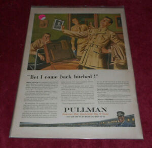 1943 Pullman Company Railroad Cars Transportation WWII Soldier Advertising Print