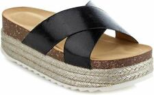 Women's Platform Slide Sandals Slip on Flat Summer Beach Casual Shoes Gage10 Black 6