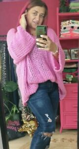 RESTOCKED!! PINK SOFT SLOUCHY LADIES LOOSE CHUNKY KNIT JUMPER  ONESIZE 10-20