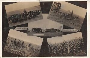 H57/ Sherwood North Dakota RPPC Postcard c1910 Farming Steam Tractor 5View73