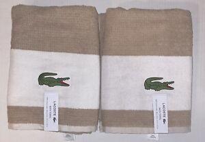 LACOSTE ALLIGATOR STRIPE COTTON BATH TOWELS SET OF 2 SAND (2.5 Ft x 4.3 Ft)